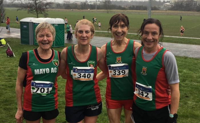 Mayo AC medal winning masters cross country team at Dundalk: Mags Glavey, Ann Murray, Pauline Moran, Colette Tuohy