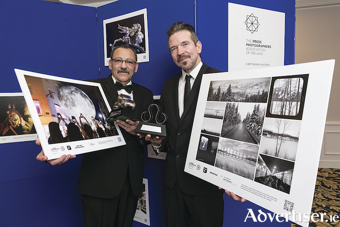 Galway photographers Hany Marzouk and Declan Monaghan pictured with their images and their awards at the PPAI event.