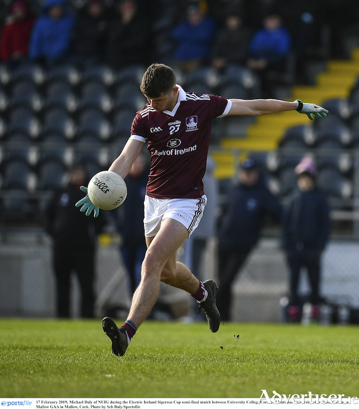 Galway's Michael Daly returned to action for NUIG iin their Electric Ireland Sigerson Cup semi-final loss against UCC College Cork at Mallow GAA in Mallow, Cork. 