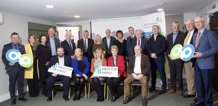 Pictured at the Mayo Mentor Launch this week were: Back row: John Magee (Head of Enterprise, Mayo County Council), Olive O'Connor, Catherine McConnell (Director of Services, Mayo County Council) John Horkan, Peter Hynes (Chief Executive, Mayo County Council), Pat O'Connor, Pam Finn, Peter Glynn, Maureen O'Malley, Martin Gillen, Tom Murphy, Damien Cashin, Tom Canavan, Dom Molloy and John Caulfield. From row: Alastair McDermott, Aisling Roche, Paula McNicholas, Mary King and John Caulfield. Photo: Alison Laredo