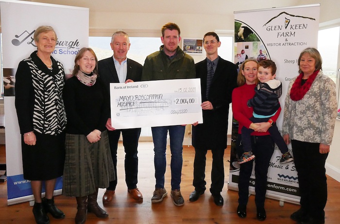 Pictured at Glen Keen Farm for the presentation of a cheque for €2,004 to Mayo Roscommon Hospice Foundation were (left-right): Helen Fahy (member of Louisburgh Voices); Pauline Graham (Louisburgh Music School); Seamus Moran, board member of Mayo Roscommon Hospice; John Groden (Table 14 restaurant); Michael Quinn (Louisburgh Music School); Catherine O'Grady-Powers with her son James (Glen Keen Farm); Sigrid Schmidt (Glen Keen Farm).