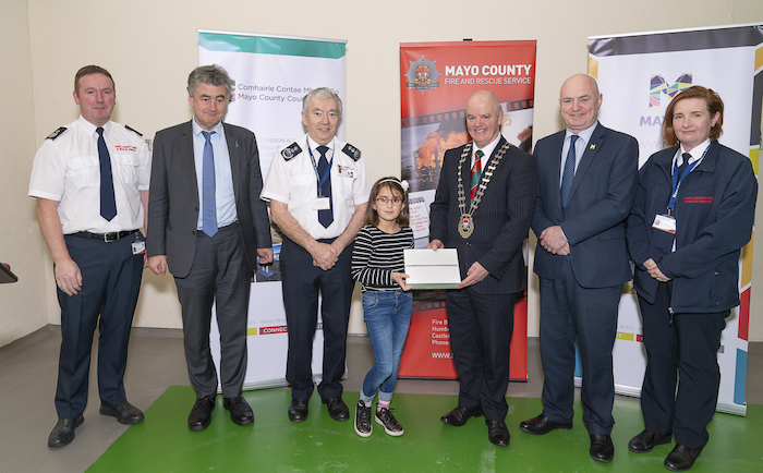 Pictured at Mayo County Fire Service are winners of the Fire Safety Awareness Competition for National School pupils were from left to right: Donal Reilly (assistant chief fire officer, Mayo Fire Service), John Condon (director of services), Seamus Murphy (chief fire officer, Mayo Fire Service), Sarah Raba winner (Breaffy NS, Ballina), Cllr Blackie Gavin (Cathaoirleach of Mayo County Council), Peter Hynes (chief executive of Mayo County Council) and Aileen O'Connell (senior assistant chief fire officer Mayo Fire Service). Photo: John Mee Photography