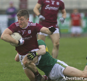 Galway's Johnny Heaney is tackled by Kerry's Diarmuid O'Connor in action from the Allianz National Football League game at Tuam Stadium, Sunday. 