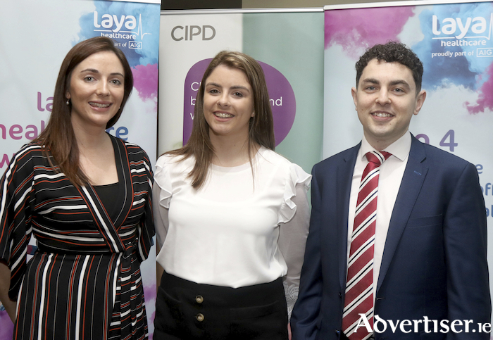 Aisling O'Sullivan, Maria Byrne and Colin O'Shaughnessy, all from Laya Healthcare, at the Chartered Institute of Personnel and Development Ireland, Western Region event, 'The Secret To Managing Your Work-Life balance', at the Clayton Hotel. Photo: Iain McDonald.