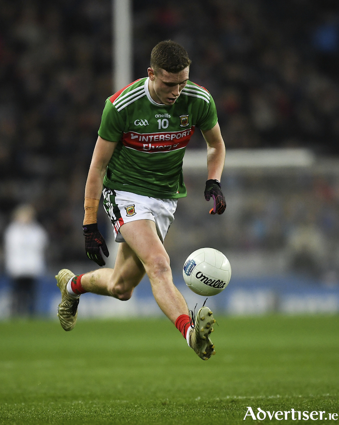 On the run: Fionn McDonagh kicked one of Mayo's three points from play last weekend against Dublin. Photo: Sportsfile.