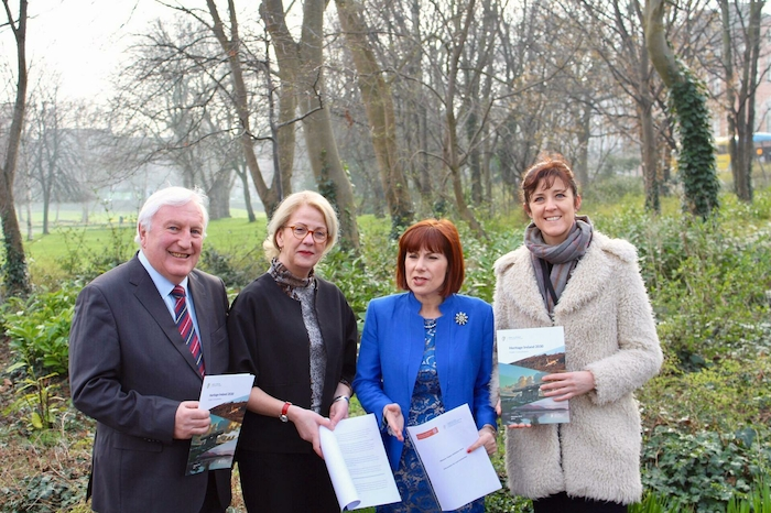 Michael Parsons (Heritage Council Chair), Virginia Teehan (Chief Executive of Heritage Council), Minister for Culture, Heritage and the Gaeltacht, Josepha Madigan and Senator Michelle Mulherin