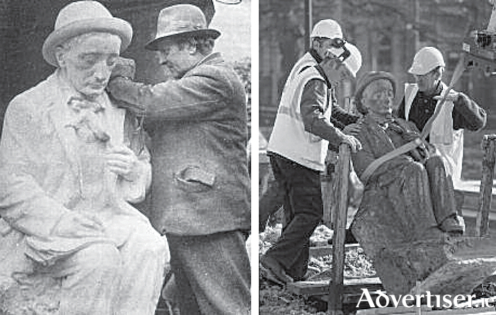 Albert Power working on his Pádraic Ó Conaire statue at his Berkeley Street, Dublin.