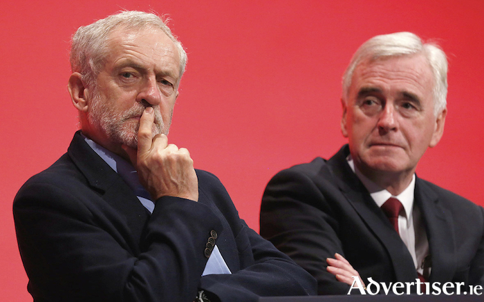 Labour leader Jeremy Corbyn and British Shadow Chancellor John McDonnell. Concerns were apparently raised in the shadow cabinet about Kevin Higgins' poem 'Listening Excercise'