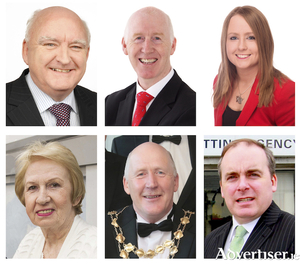 Among the Galway City East candidates are (clockwise LtoR) sitting councillors DEclan McDonnell, John Walsh, Mairead Farrell, Terry O'Flaherty, Noel Larkin, and Mike Crowe.