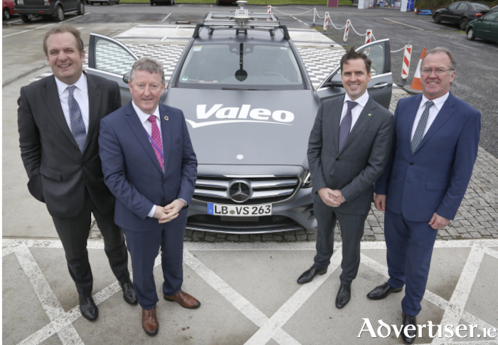 Pictured at the announcement are left to right, Valeo comfort and driving assistance systems business group president Mark Vrecko, Galway East TD and Minister of State for Rural and Community Development Seán Canney, IDA Ireland chief executive officer Martin Shanahan, and general manager Valeo Tuam Fergus Moyles.