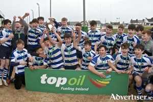 Garbally College team celebrate winning The Connacht Junior A Schools Cup after defeating Coláiste Iognáid at the Sportsground on Wednesday. Photo:-Mike Shaughnessy