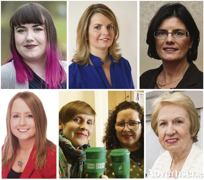 A number of the women running for election in May's Local Elections (LtoR): Sharon Nolan (Som Dems), Clodagh Higgins (FG), Colette Connolly (Ind), Mairead Farrell (SF), Pauline O'Reilly and Martina O'Connor (Greens), and Terry O'Flaherty (Ind)
