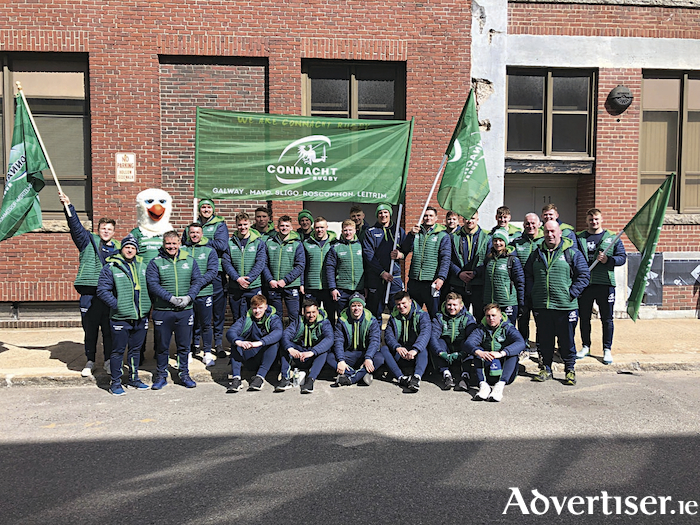 The Connacht Rugby Eagles Team and their coaches marched in this St Patrick's Day parade in Boston where more than a million people lined the streets to cheer them on. The Connacht Eagles were in Boston playing the New England Free Jacks.