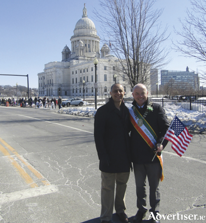 Mayor of Providence, Jorge Elorza  and Town Mayor, Frankie Keena, prior to the Providence St. Patrick's Day parade.