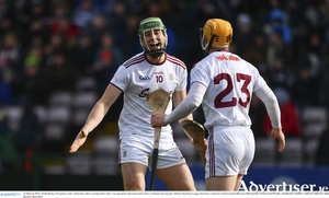 Niall Burke of Galway, left, celebrates after scoring their side?s second goal with team-mate Davy Glennon during the Allianz Hurling League Division 1 quarter-final at Pearse Stadium.                                              Photo by Sam Barnes/Sportsfile