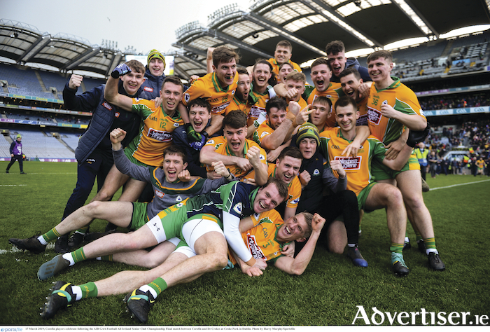 Corofin players celebrate victory in the AIB GAA Football All-Ireland Senior Club Championship final at Croke Park in Dublin. 