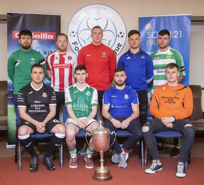 Ready for the off: At the launch of the Mayo League Super League season in Solar 21 Milebush Park were back row: Alan Tuffy (Ballyheane), Ryan Connolly (Ballyglass), Gary Cunningham (Westport United), Jamie Cawley (Ballina Town) and Gerry Hunt (Castlebar Celtic). Front row: Michael Marigliano (Ballyhaunis Town), Lorcan Conroy (Claremorris), Andrew Shally (Manulla) and Max Babiarczyk (Straide and Foxford United). Photo: Ryan Gallagher