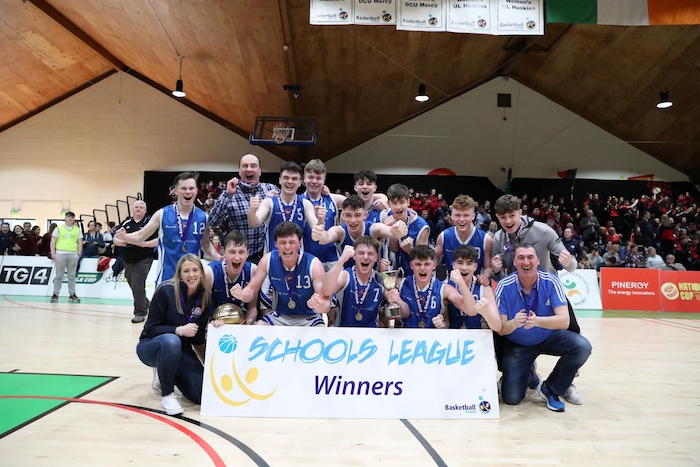 Winning smiles: The St Bredan's College Belmullet team celebrate winning the u19c National League title in Tallaght on Wednesday. Photo: SportsPress.