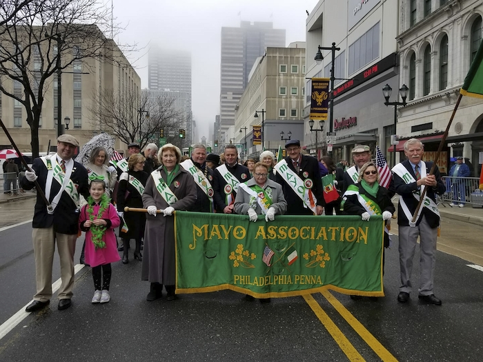 Members of the Mayo County Council delegation in the annual Philadelphia parade with Grand Marshal Sean Mcmenamin and representatives from the Mayo Association Philadelphia.