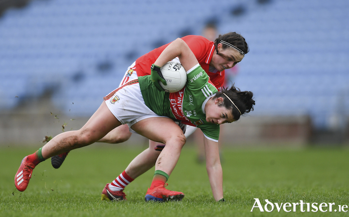 Driving on: Rachel Kearns looks to make progress against Cork. Photo: Sportsfile
