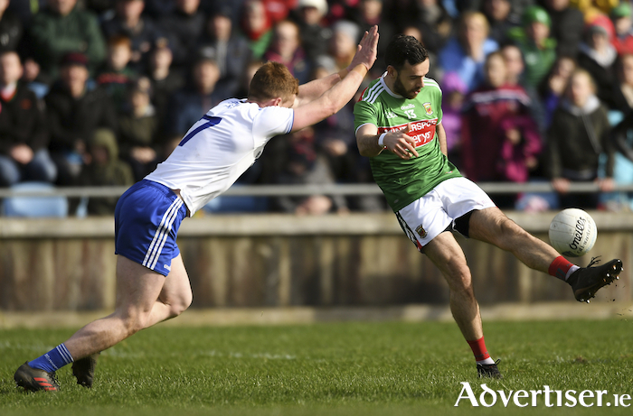 Up and over: Kevin McLoughlin shoots for a point against Monaghan. Photo: Sportsfile