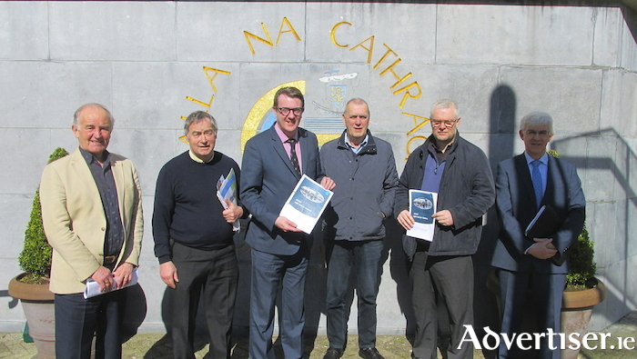 Presenting the Gluas Report at City Hall on Tuesday morning were (LtoR): Murt Coleman, report author; Brendan Holland, chair of GLUAS Project; Mayor Niall McNcNelis; Niall Ó Brolchain, GLUAS; and Brendan Mulligan.