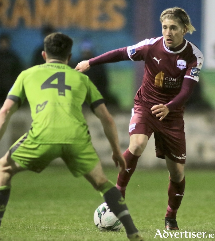 Galway United's Ivan Gamarra and Drogheda United's Mark Hughes in action form the SSE Airtricity League first division game at Eamonn Deacy Park, Friday. 