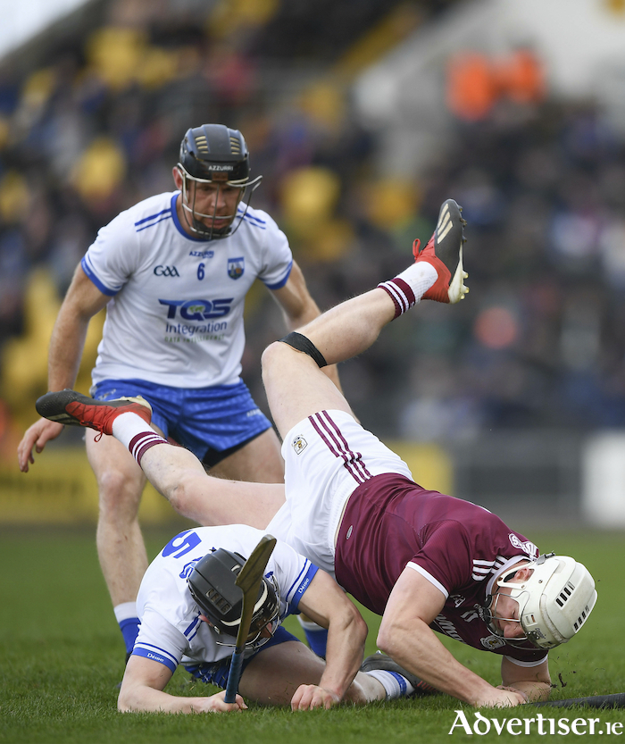 Galway's Joe Canning, tackled by Shane Bennett of Waterford and Kevin Moran of Waterford in the Allianz Hurling League division one semi-final match at Nowlan Park in Kilkenny,  is expected to be fully fit for May.