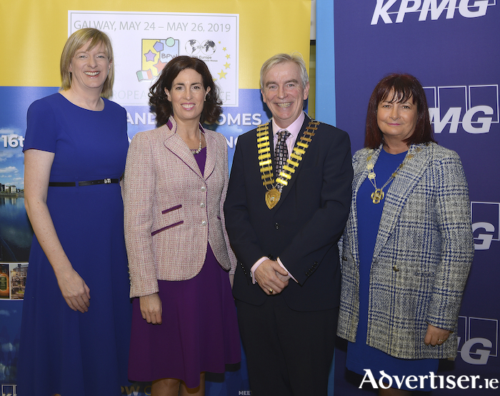 Pictured at the launch of the BPW sixteenth European Conference 2019 sponsored by KPMG are (L-R) Mary McGinley, director of KPMG. Hildegarde Naughton TD, Dave Hickey, president of Galway Chamber of Commerce and Carmen Taheny, president of BPW Ireland. Further details www.bpwireland.ie: 