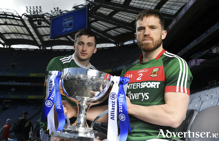 Out in front: Mayo's Chris Barrett with Kerry's Paul Murphy at the National League Finals launch in Croke Park earlier this week. Photo: Sportsfile.