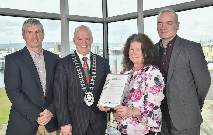 At the presentation of the ALCI award in the Titanic Centre in Belfast to Turlough playground were: Christy Hanberry (Creative Play Solutions), Cllr Blackie Gavin (Cathaoirleach Mayo County Council), Noreen Hennigan (Mayo County Council horticulturist), Peter Gill (Mayo County Council parks superintendent).