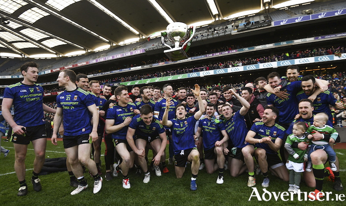 Team effort: The Mayo team celebrate after wining the league title in Croke Park. Photo: Sportsfile.