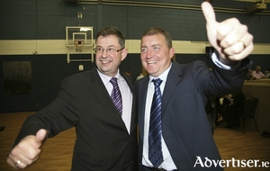 Eamonn O'Cuiv and Ollie Crowe celebrating at a previous election count. Will they be celebrating come the next local and general elections? Photo:-Mike Shaughnessy