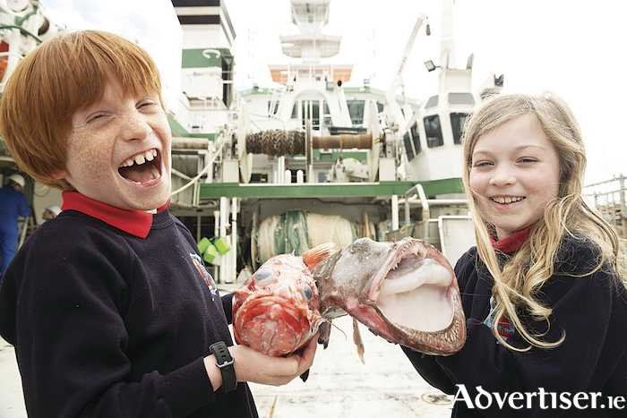 Rang 2 students, Ronan Costello and Lauren Sherlock with an Atlantic thornyhead and monkfish on the RV Celtic Explorer
