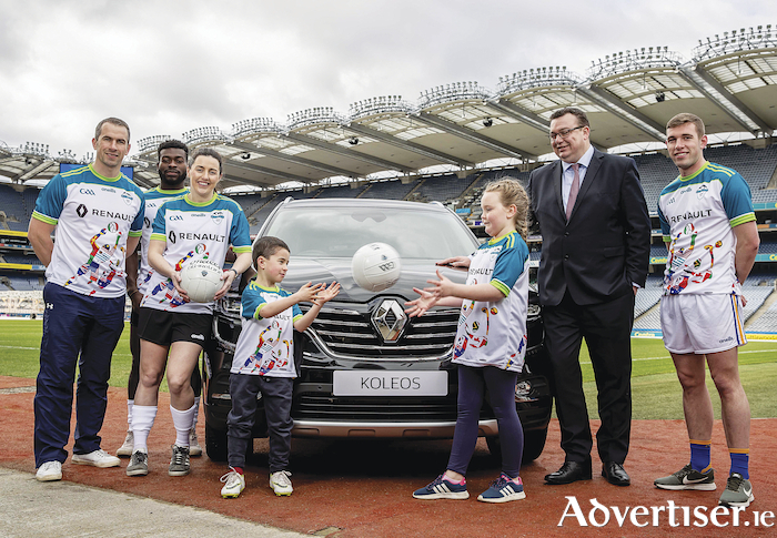 Patrick Magee, country operations director of the Renault Group Ireland (second from right) at the launch of the 2019 GAA World Games at Croke Park today.