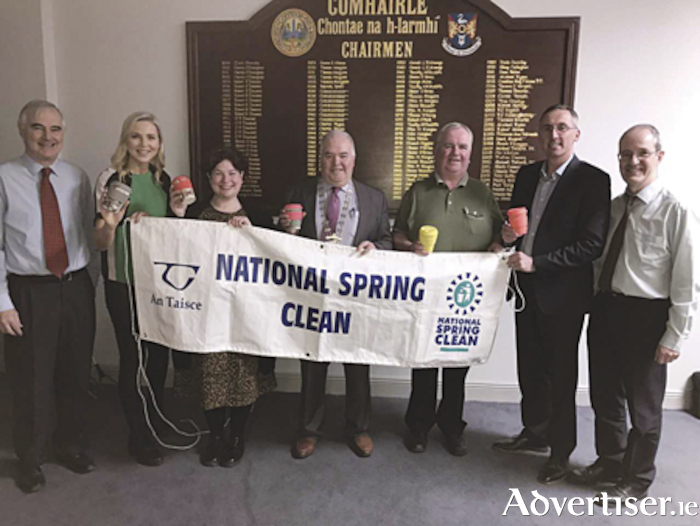 Ciaran Jordan, WCC, Sarah McGovern Vaughan, Ambassador for National Spring Clean, Cllr. Una D'arcy, WCC Cathaoirleach John Dolan, Cllr. Aengus O' Rourke, and Greg Duggan,WCC, at the launch of National Spring Clean 2019