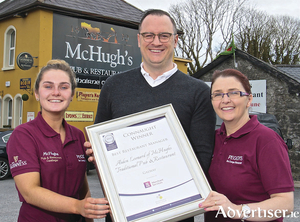 Aiden Leonard of McHughs Traditional Pub & Restaurant, Tuam Road, Castlegar was the Connaught Winner of Best Manager  at the Irish Restaurants Awards 2019.Pictured with Aiden are staff Elaine Fahy and Sinead Monaghan.Photo:-Mike ShaughnessyAiden Leonard of McHughs Traditional Pub & Restaurant, Tuam Road, Castlegar was the Connaught Winner of Best Manager  at the Irish Restaurants Awards 2019. Pictured with Aiden are staff Elaine Fahy and Sinead Monaghan. Photo:-Mike Shaughnessy