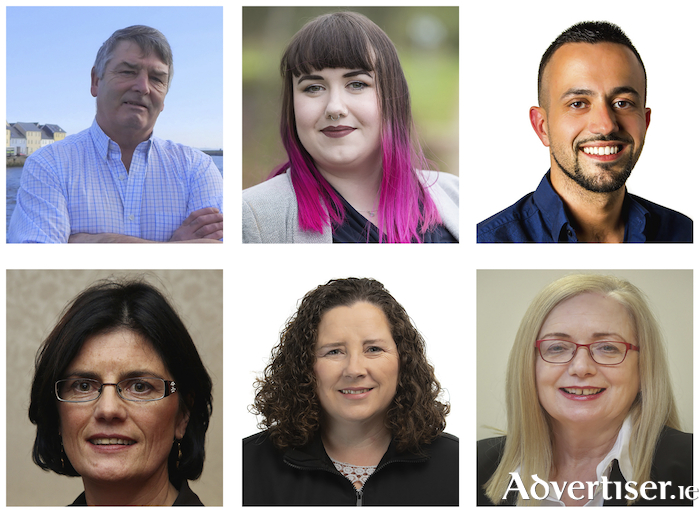 Galway City Central candidates who will benefit from Cllr Billey Cameron's vote (LtoR): John McDonagh, Sharon Nolan, Joe Loughnane, Cllr Colette Connolly, Martina O\Connor, and Imelda Byrne.