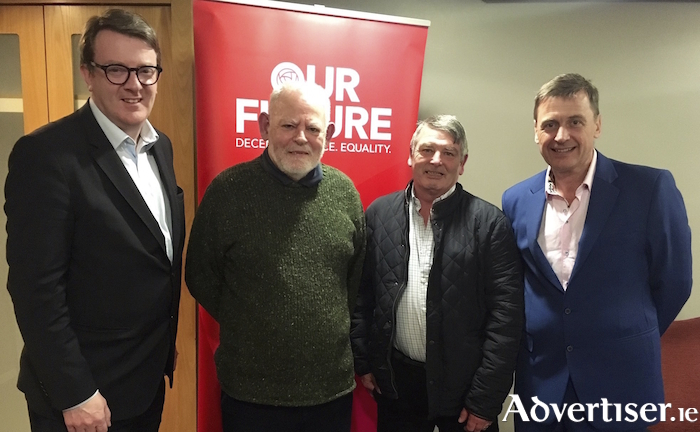 The Mayor of Galway, Cllr Niall McNelis, Liam Boyle, John McDonagh, and Labour EU Parliament candidate, Dominic Halligan.