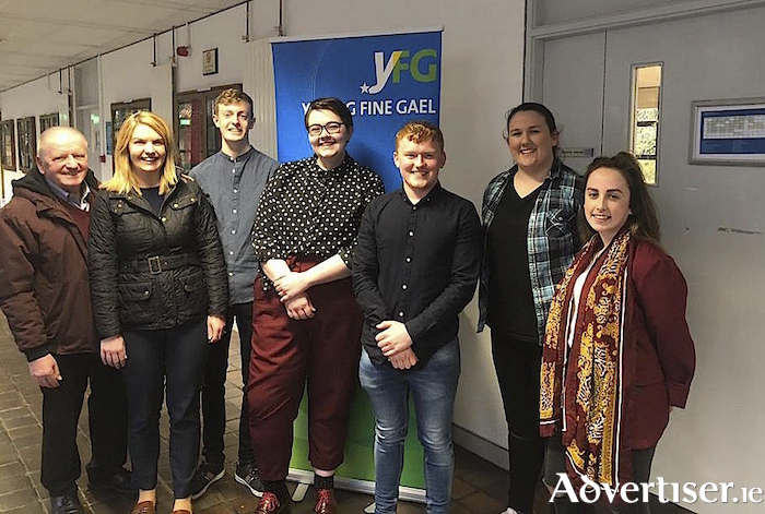 At the YFG meeting in NUI Galway were (LtoR): Cllr Frank Kearney, Galway City West candidate Clodagh Higgins, Kailan Mitchell, Mars Duignan, Eoghan Gallagher, Sinéad Bolger, and Sarah Canavan.