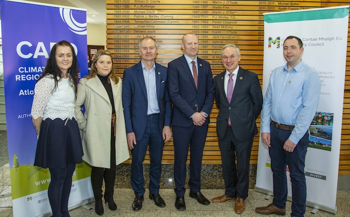 Anne Ronayne (Regional Climate Officer), Maria O'Connell (Executive Climate Scientist), Martin Keating (Senior Executive Officer, Mayo County Council), David Mellett (Regional Co-Ordinator), Minister for Communications, Climate Action and Environment, Richard Bruton TD, and Liam Scott (Assistant Climate Scientist) at the official opening of the Regional Climate Office in Mayo County Council last Friday.