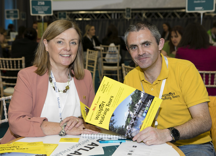 Pictured attending Meitheal were Eve Costello, Fáilte Ireland with Stephen Clarke, Westport Walking Tours.  Photo Chris Bellew /Fennell Photography.