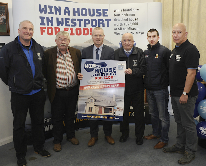 Pictured at Westport GAA Club where the Launch of Win a House in Westport Draw took place, Damien Loftus, Jim Hogan, Mayo GAA vice chairman Seamus Touhy, Paddy Muldoon, Mayo GAA PRP Paul Cunnane and Charlie Lambert. Photo: Conor McKeown