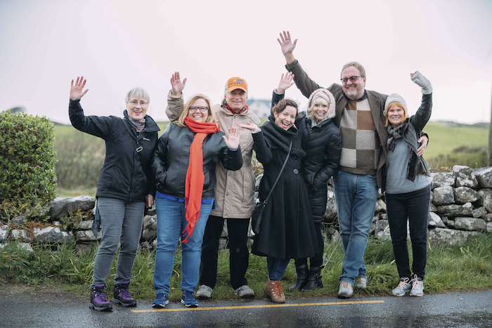 Tour guide Barbara Hunter (left), with US radio presenters, during their fact-finding visit to Ireland. Photo: Eamon Ward