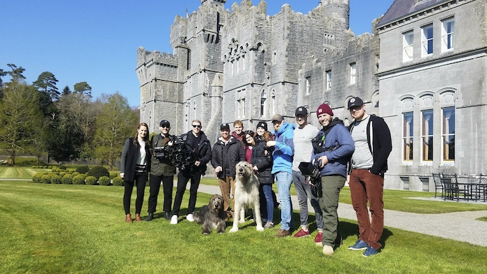 Deirdre O'Brien, Tourism Ireland (left), with the Hearst Media crew, during filming at Ashford Castle.
