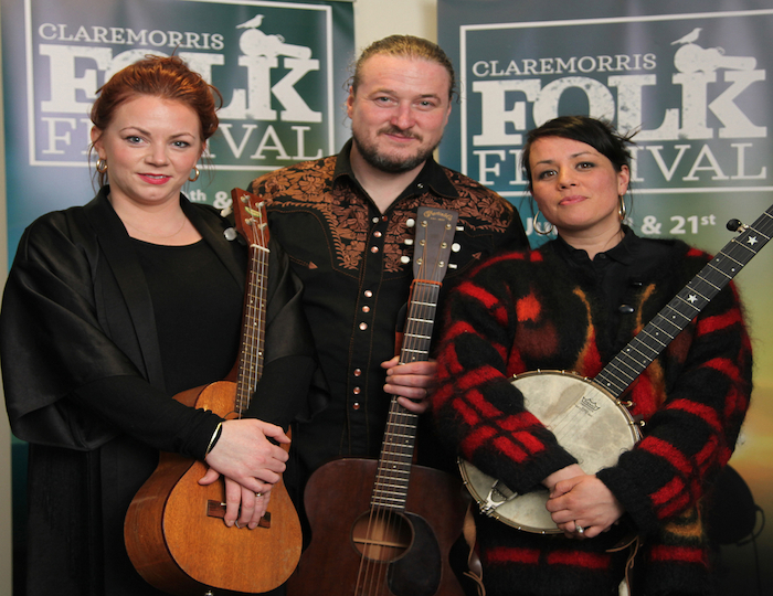 Ready to entertain: The Whileaways - Nicola Joyce, Noelie McDonnell and Noriana Kennedy, who will be performing at the Claremorris Folk Festival in July. Photo: Trish Forde.