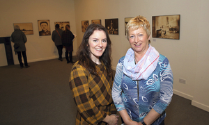 Bernadette Grennan, (Director Linenhall Arts Centre Castlebar) pictured with Anne Naughton,  at the official opening of Photographic Exhibition by Photographer Nathalie Daoust's Korean Dreams. The exhibition runs until May 11. Photo: Michael Donnelly