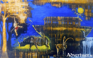 Above is No Ark by Fiona Cawley, while below is a detail from 'A Stitch...' by Patsy Connolly.