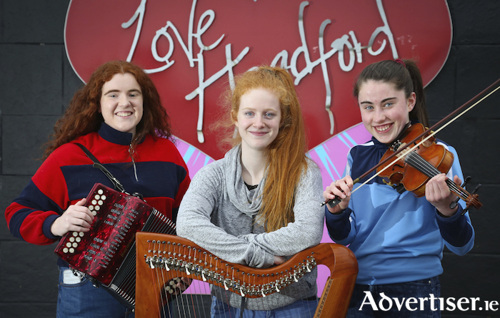 Ashling Small, Kilcoona, Aoibhín Ní Bhroin (Shrule) and Amy Curran (Headford) at the launch of plans for Headford-Kilcoona Branch of Comhaltas Ceoltóirí Éireann to stage the 2019 Galway County Fleadh in Headford. Photo:- Aengus McMahon
