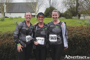 Post race joy etched on the faces of Moate Athlone Running Group memners, l-r, Michelle Collins, Laura Nally and Edel Doyle